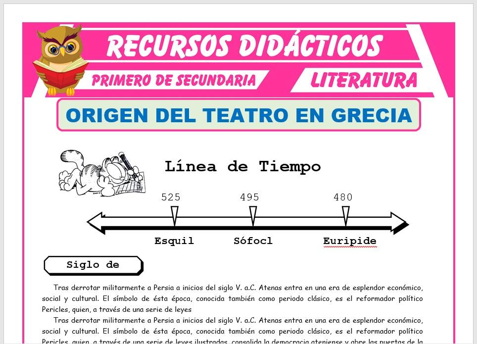 Ficha de Origen del teatro en Grecia para Primero de Secundaria
