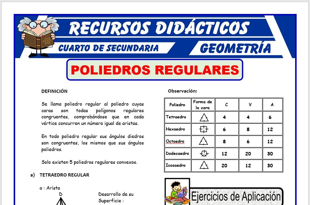 Ficha de Poliedros Regulares para Cuarto de Secundaria