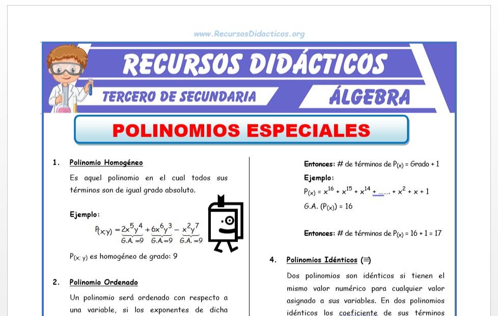 Ficha de Polinomios Especiales para Tercero de Secundaria