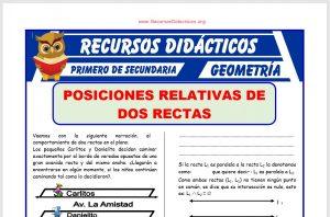 Ficha de Posiciones Relativas de Dos Rectas para Primero de Secundaria