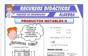 Ficha de Práctica de Productos Notables 2 para Tercero de Secundaria