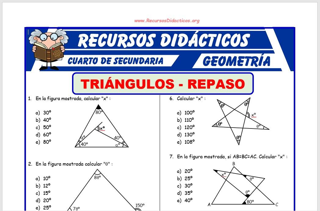 Ficha de Práctica de Triángulos para Cuarto de Secundaria