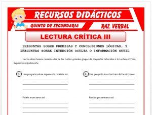 Ficha de Preguntas sobre Premisas para Quinto de Secundaria