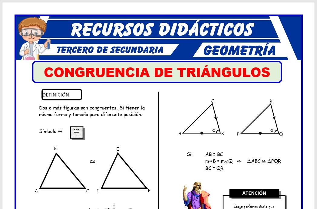 Ficha de Primer Caso de Congruencia de Triángulos para Tercero de Secundaria