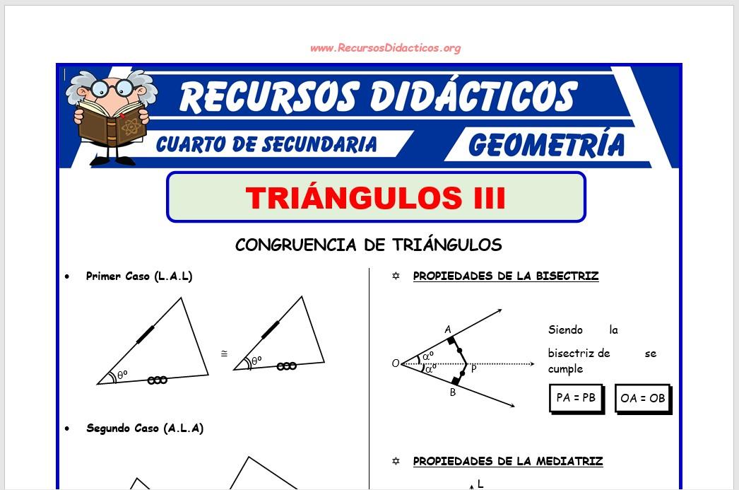 Ficha de Problemas de Congruencia de Triángulos para Cuarto de Secundaria
