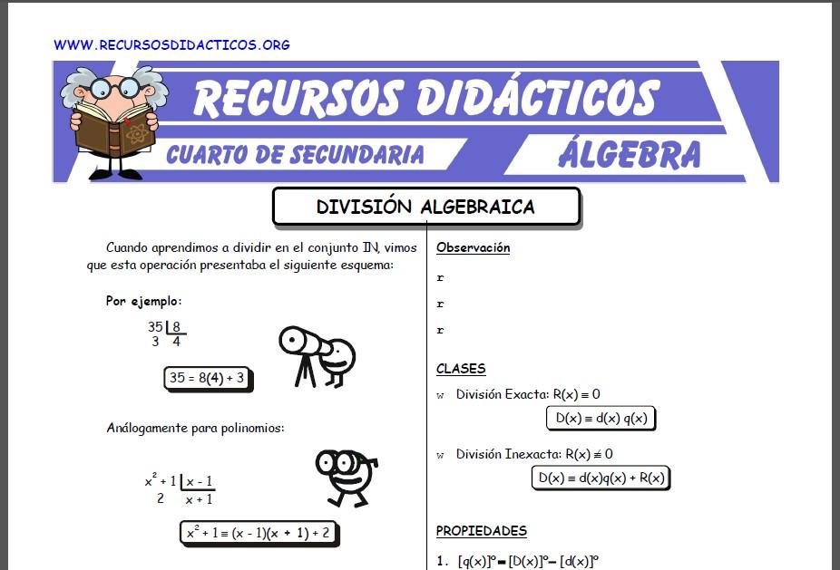 Ficha de Problemas de División Algebraica para Cuarto de Secundaria