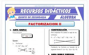 Ficha de Problemas de Factorización 2 para Quinto de Secundaria