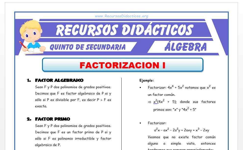Ficha de Problemas de Factorización para Quinto de Secundaria