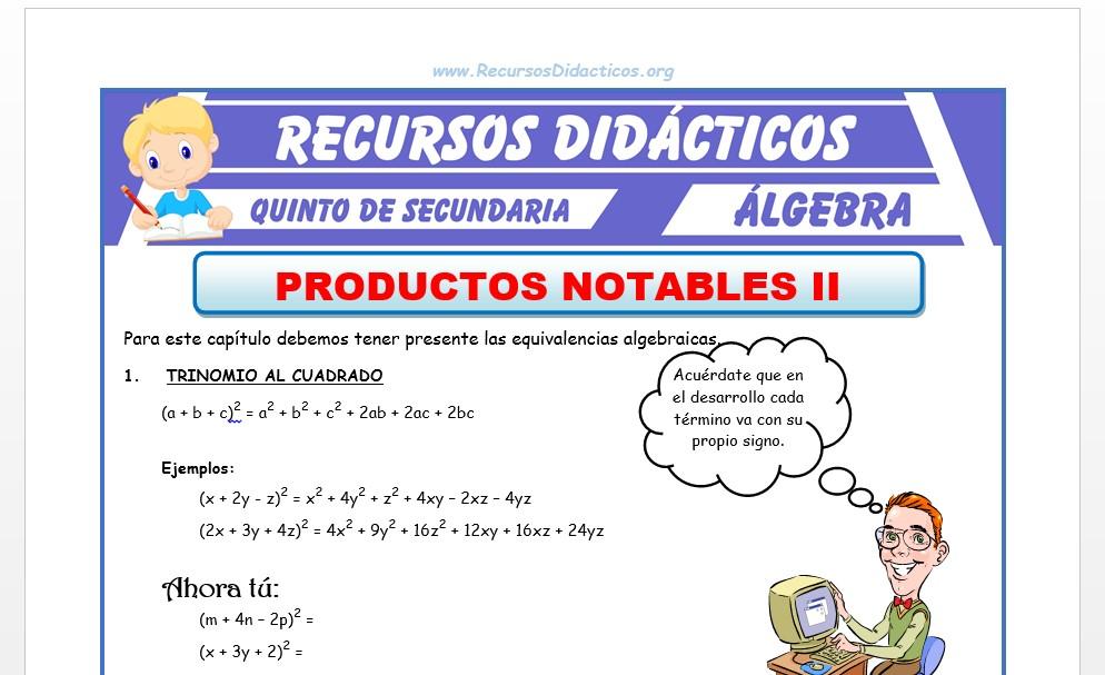 Ficha de Problemas de Productos Notables 2 para Quinto de Secundaria