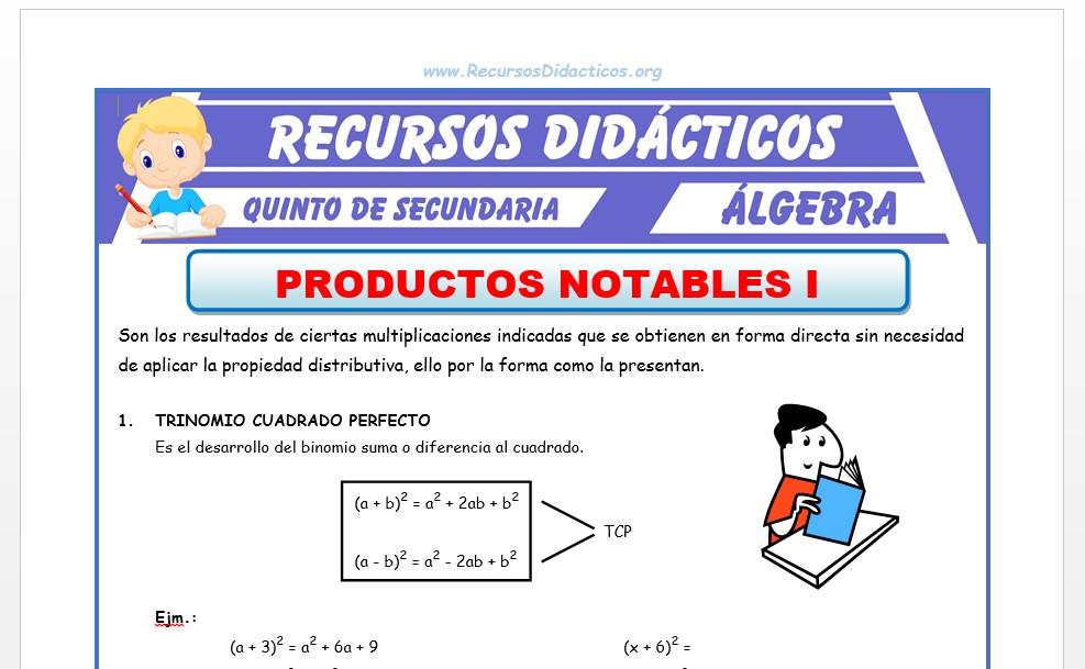 Ficha de Problemas de Productos Notables para Quinto de Secundaria