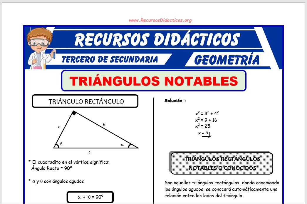 Ficha de Problemas de Triángulos Notables para Tercero de Secundaria