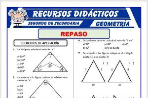 Ficha de Problemas de Triángulos para Segundo de Secundaria