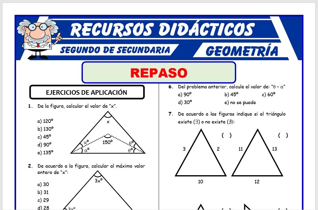Problemas De Triángulos Para Segundo De Secundaria Recursos 2021
