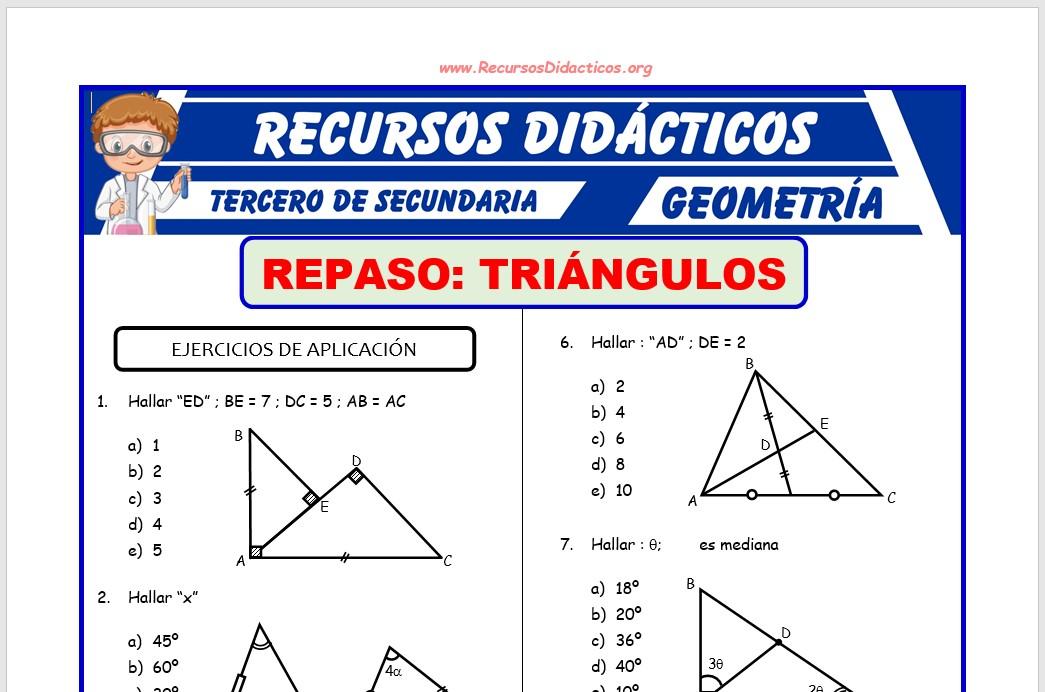 Ficha de Problemas de los Triángulos para Tercero de Secundaria