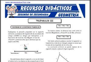 Ficha de Propiedad de la Existencia Triangular para Segundo de Secundaria