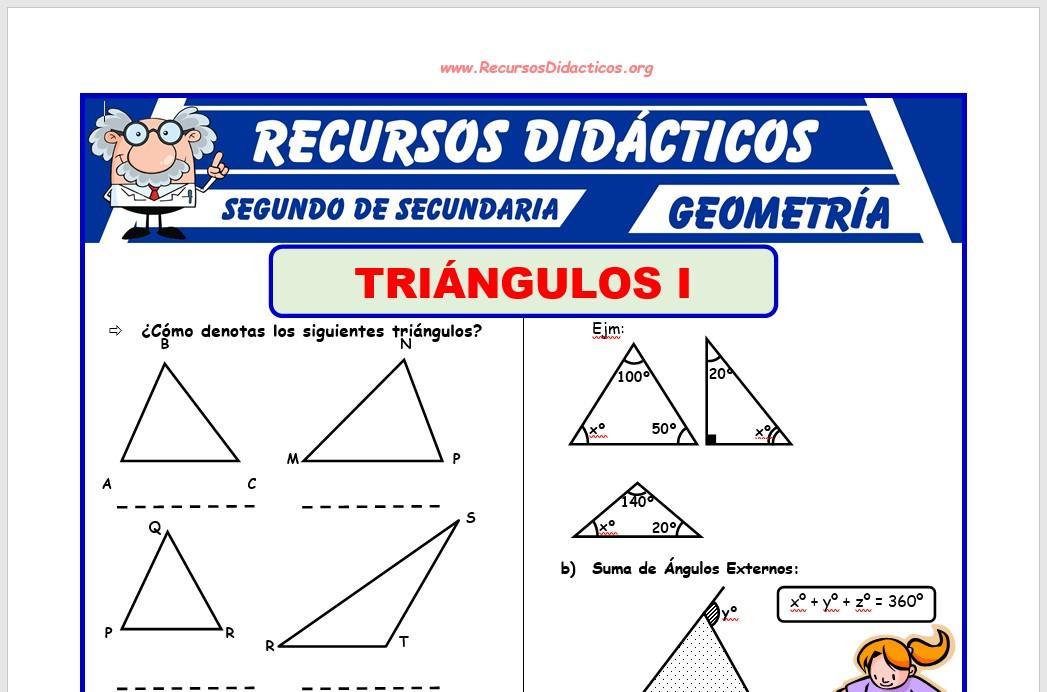 Ficha de Propiedades Adicionales de los Triángulos para Segundo de Secundaria