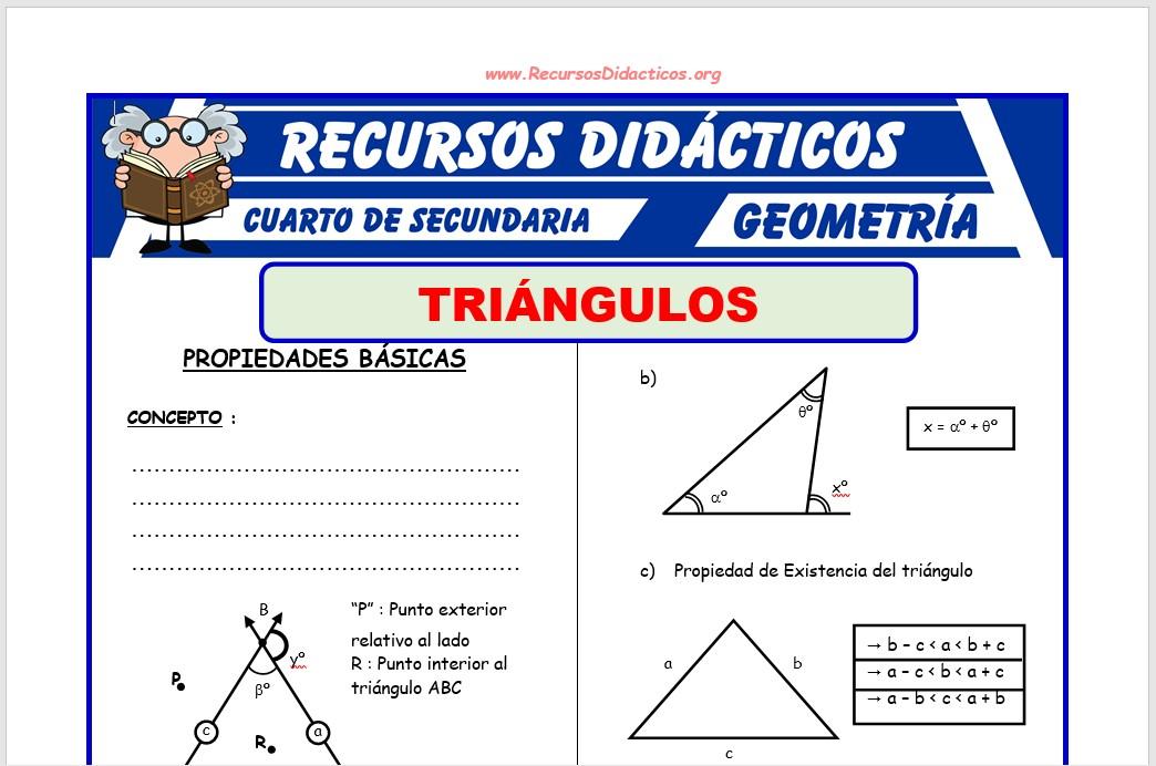 Ficha de Propiedades de los Triángulos para Cuarto de Secundaria