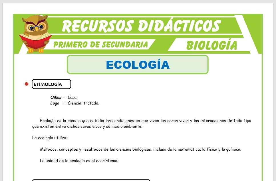 Ficha de Que Estudia la Ecología para Primero de Secundaria