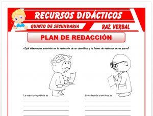 Ficha de Que es el Plan de Redacción para Quinto de Secundaria