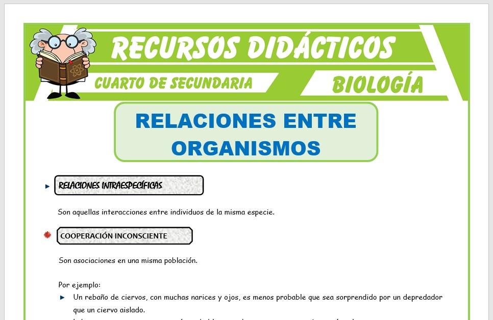 Ficha de Relaciones Entre Organismos para Cuarto de Secundaria