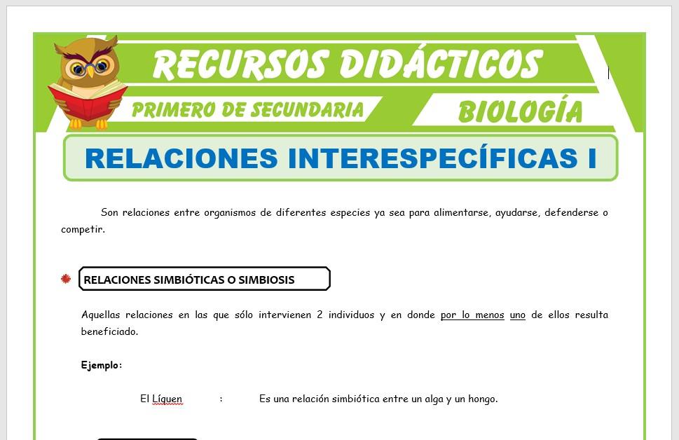 Ficha de Relaciones Interespecíficas para Primero de Secundaria