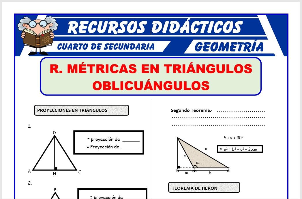 Ficha de Relaciones Métricas en Triángulos Oblicuángulos para Cuarto de Secundaria