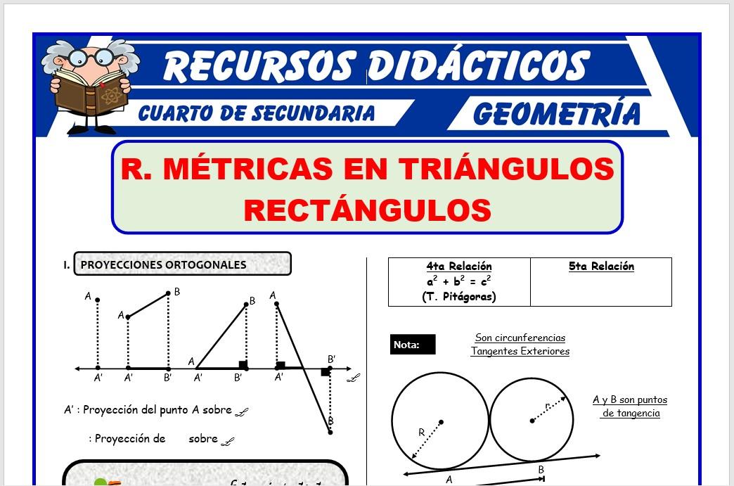 Ficha de Relaciones Métricas en Triángulos Rectángulos para Cuarto de Secundaria