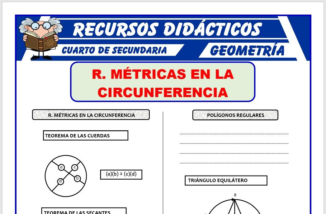 Ficha de Relaciones Métricas en la Circunferencia para Cuarto de Secundaria