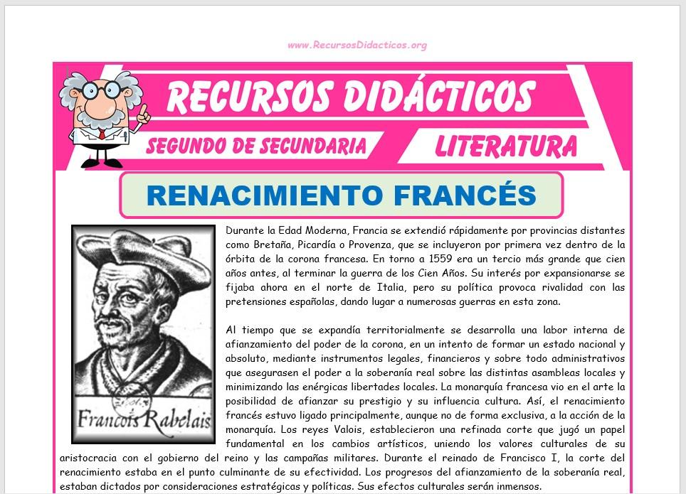 Ficha de Renacimiento Francés para Segundo de Secundaria