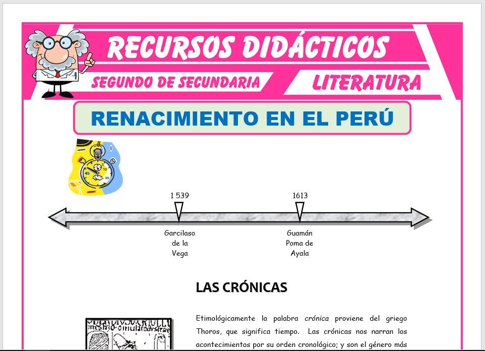 Ficha de Renacimiento en el Perú para Segundo de Secundaria