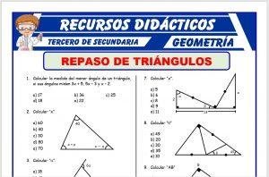 Ficha de Repaso de Triángulos para Tercero de Secundaria