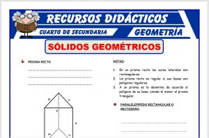 Ficha de Sólidos Geométricos para Cuarto de Secundaria