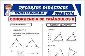 Ficha de Segundo Caso de Congruencia de Triángulos para Tercero de Secundaria