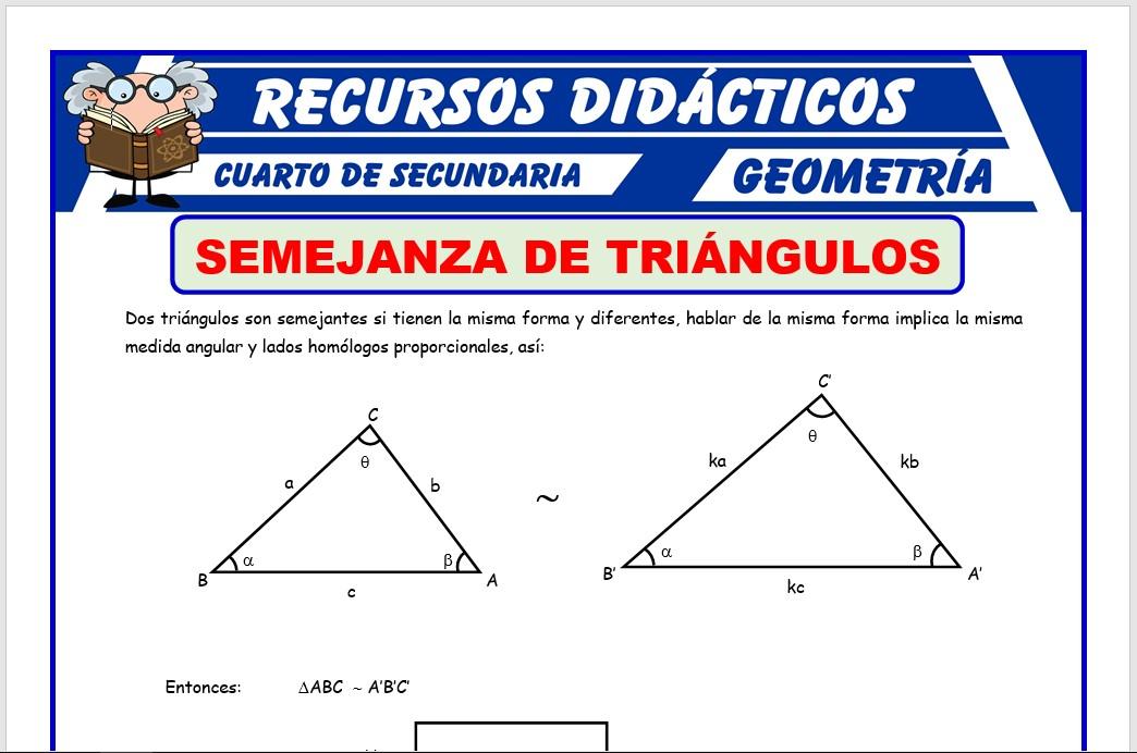 Ficha de Semejanza de Triángulos para Cuarto de Secundaria