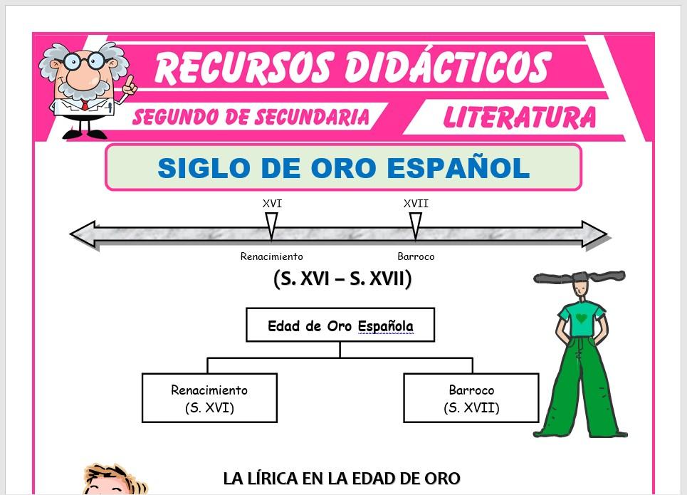 Ficha de Siglo de Oro Español para Segundo de Secundaria