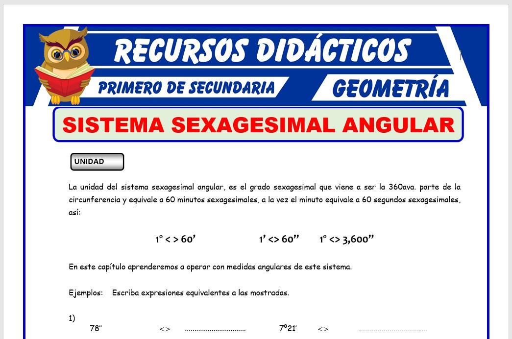 Ficha de Sistema Sexagesimal Angular para Primero de Secundaria
