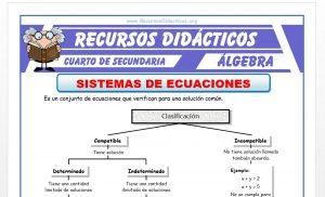 Ficha de Sistemas de Ecuaciones para Cuarto de Secundaria