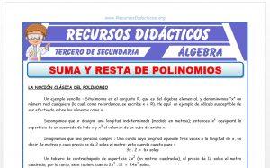 Ficha de Suma y Resta de Polinomios para Tercero de Secundaria