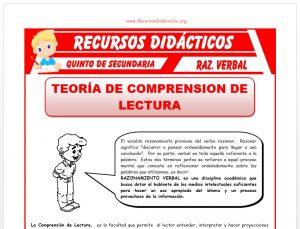 Ficha de Teoría de Comprensión de Lectura para Quinto de Secundaria