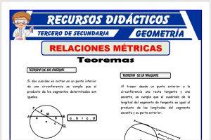 Ficha de Teoremas de las Relaciones Métricas para Tercero de Secundaria