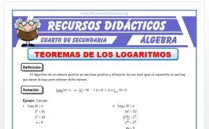 Ficha de Teoremas de los Logaritmos para Cuarto de Secundaria