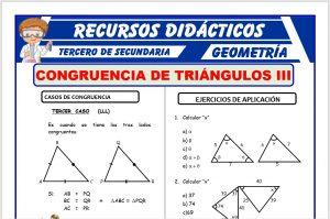 Ficha de Tercer Caso de Congruencia de Triángulos para Tercero de Secundaria