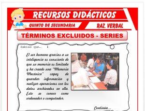 Ficha de Términos Excluidos y Series para Quinto de Secundaria