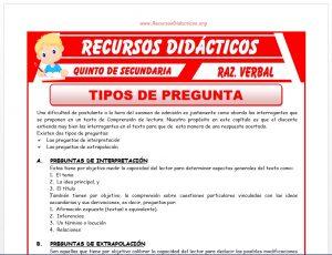 Ficha de Tipos de Preguntas ejercicios para Quinto de Secundaria