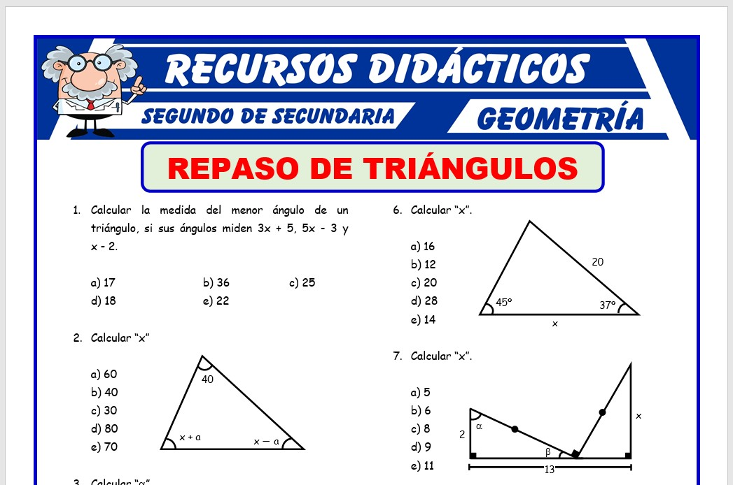 Ficha de Triángulos Ejercicios para Segundo de Secundaria