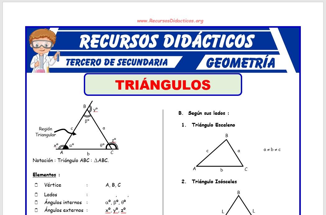 Ficha de Triángulos Problemas para Tercero de Secundaria