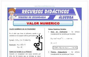 Ficha de Valor Numérico de un Polinomio para Tercero de Secundaria