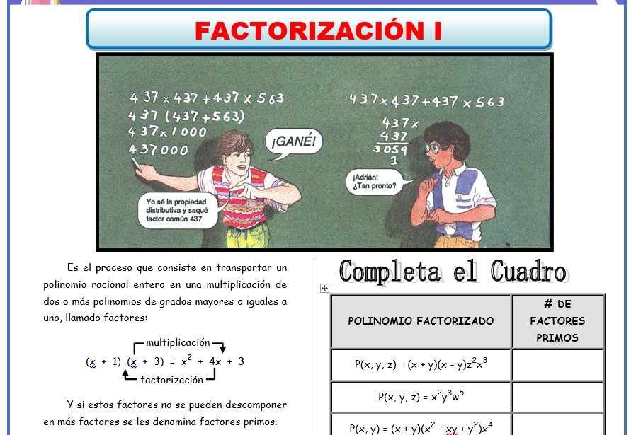 Actividades de Algebra - ficha de Factorizacion