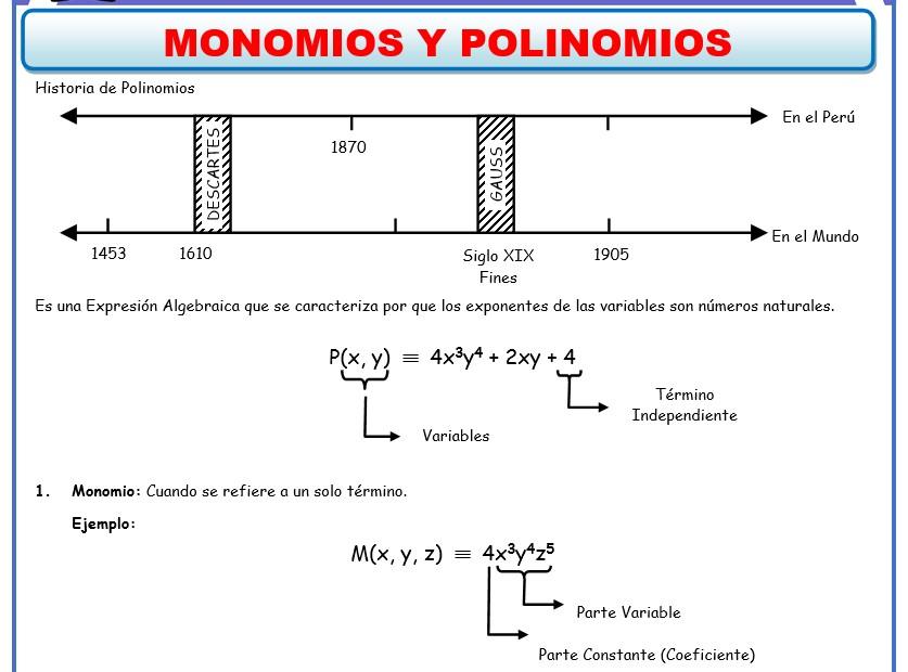 Problemas de Algebra - ficha de Monomios y Polinomios