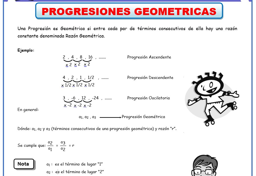 Progresiones Geometricas - Fichas de Algebra